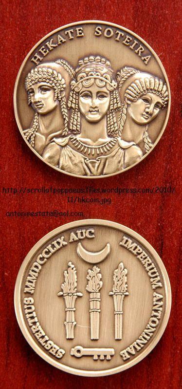 Hecate coins available for sale. http://scrollofpoppaeus.wordpress.com/antoninia-imperium-antoniniae/antonine-coins/