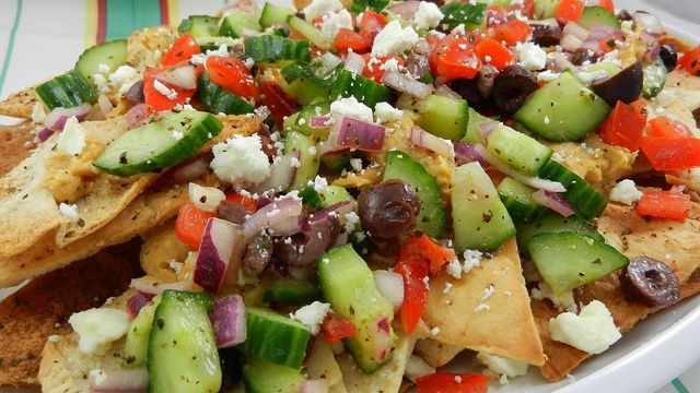 Greek nachos, created by my daughter-in-law, Sarah Sprague. www ...