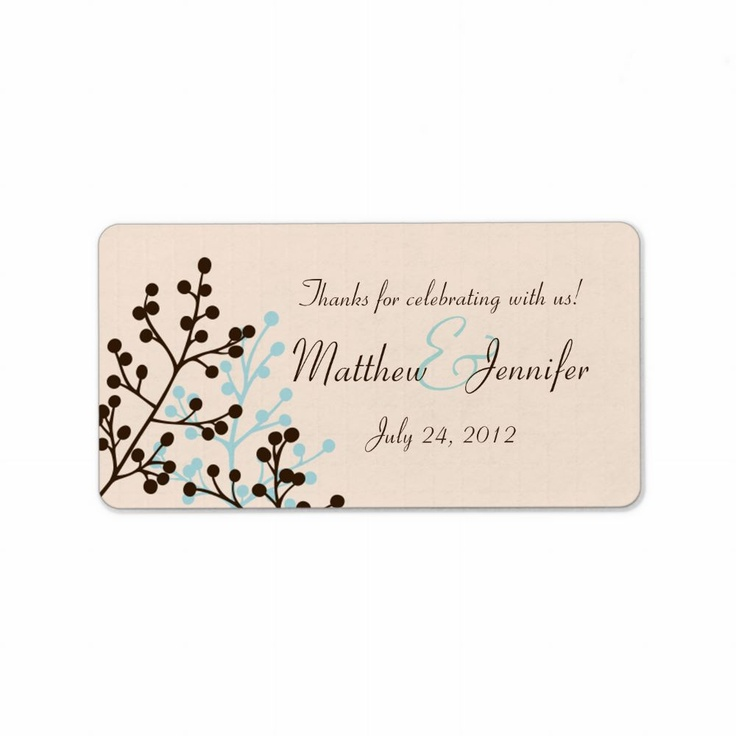 brown and blue custom wedding favor label stickers by