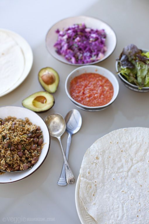 Quinoa & Bean Burritos with red cabbage slaw and green tomato salsa