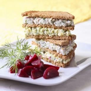 """Smorgastarta-- A delicious take on the Swedish """"savory sandwich torte"""" that we transformed into a light layered sandwich. Make it a meal with a beet salad or steamed red potatoes!"""