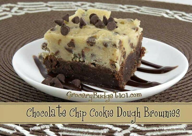 Chocolate chip cookie dough brownie | Desserts | Pinterest