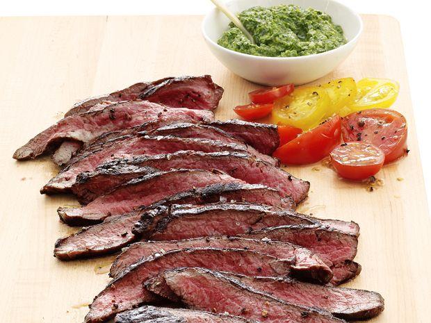 Flank Steak with Salsa Verde #FNMag #myplate #protein #veggies