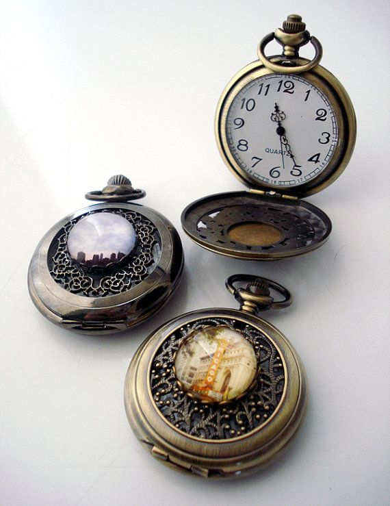 six groomsman gifts vintage style pocket watches set of
