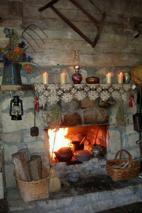 Primitive fireplace primitive home pinterest for Country home and hearth