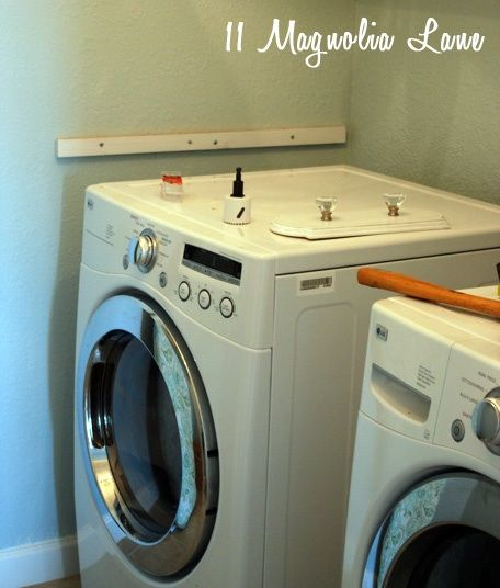 installing a diy laundry shelf over your washer dryer. Black Bedroom Furniture Sets. Home Design Ideas