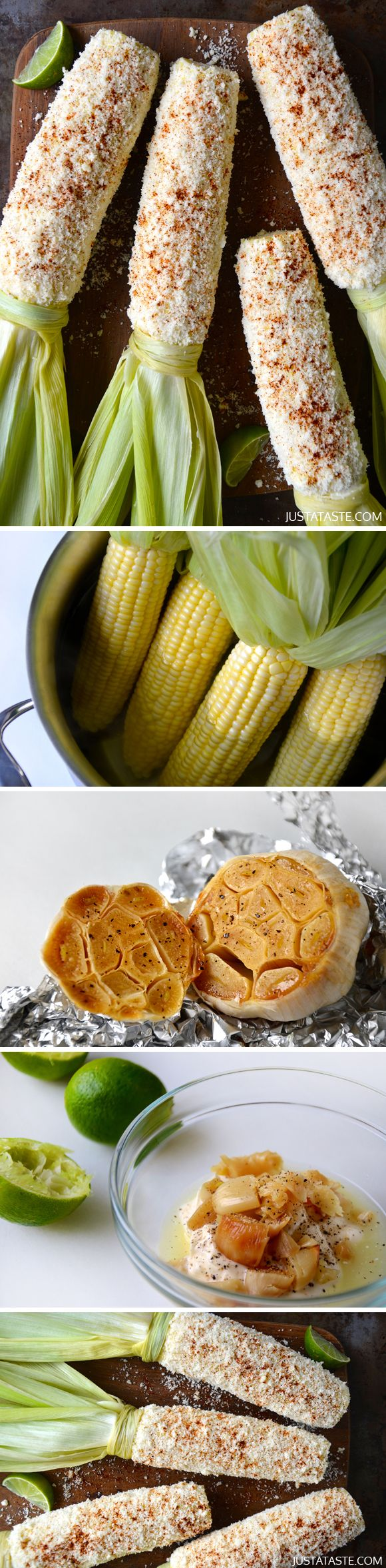 Cheesy Roasted Garlic Corn on the Cob - This is by far the BEST corn I ...