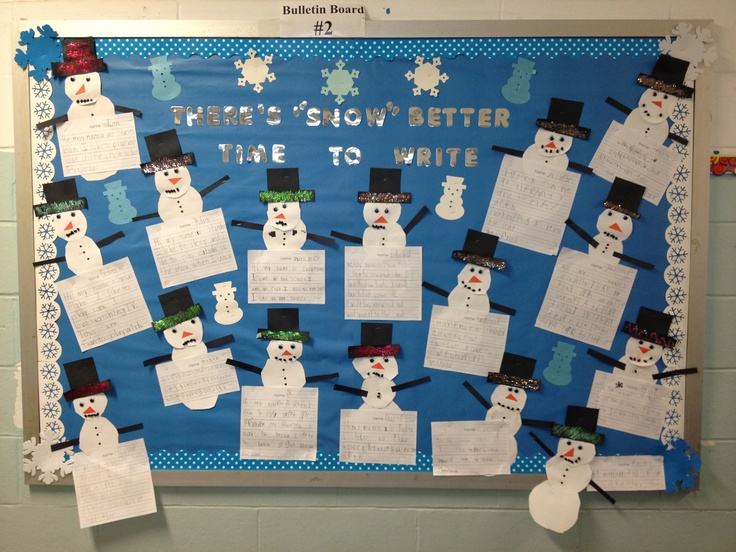 Snowman bulletin board. We made snowman by writing step by step ...