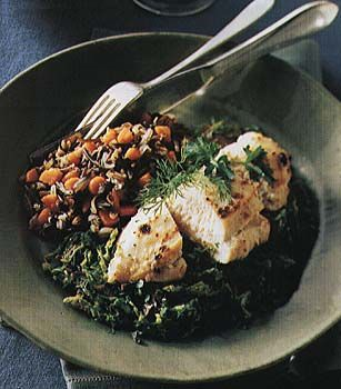 Broiled Chicken Over Braised Porcini and Savoy Cabbage Recipe at ...