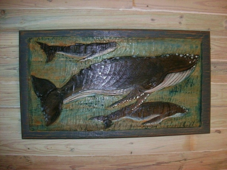 Humpback whale scene large relief wall carving quot x