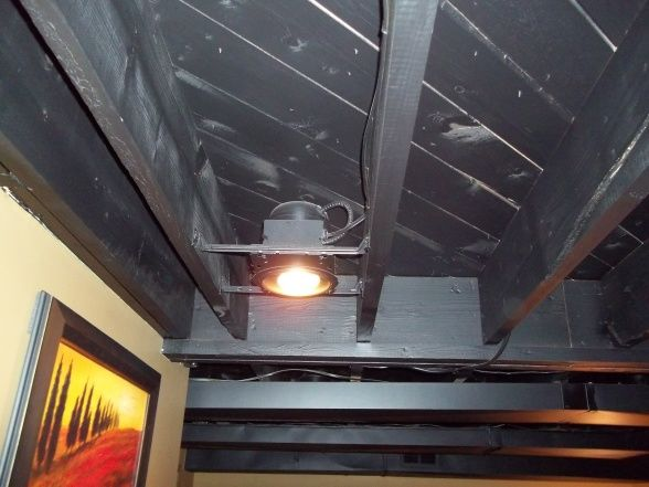 ceiling painted out black with recessed lighting basements design