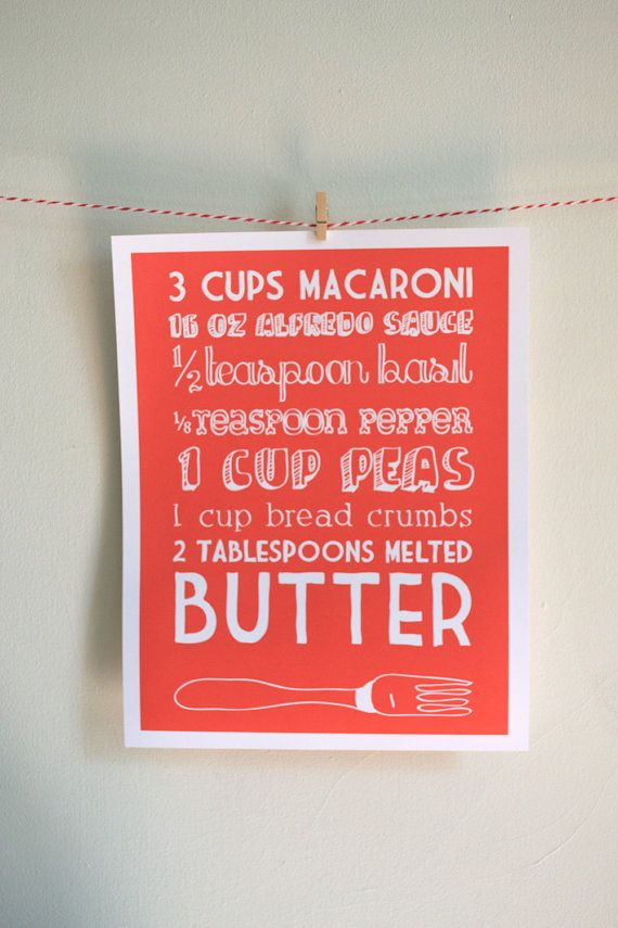 11x14 Baked Mac & Cheese Recipe Kitchen Art Print with Hand Lettering
