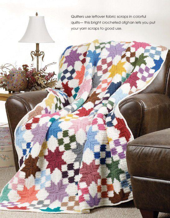 Crochet Patterns Patchwork Quilt : W126 Crochet PATTERN ONLY Star Quilt Patchwork Scrap Afghan Pattern