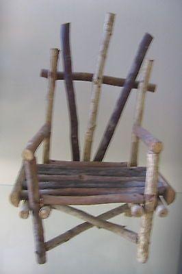 Miniature Wood Tree Branch Chair Furniture Decorative Home Decor Doll