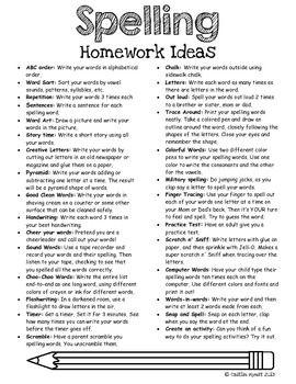 Spelling/Word Work Ideas