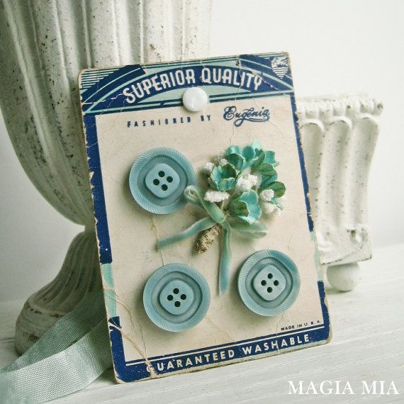 Vintage Button Card Millinery Gift Tag Tree Ornament by MagiaMia
