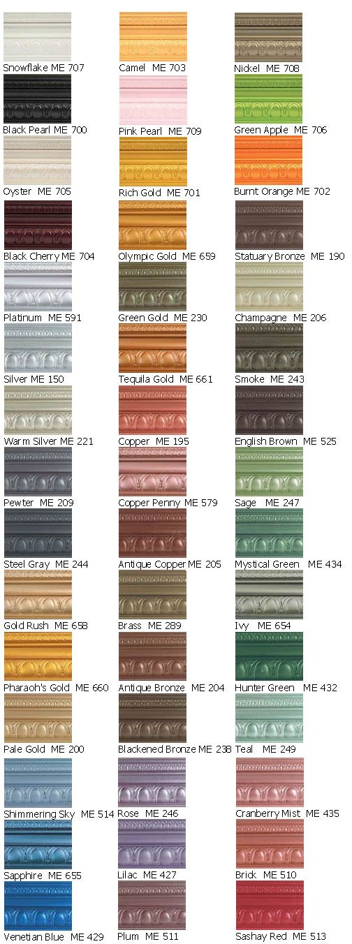 Modern Masters Metallic Paint Color Chart