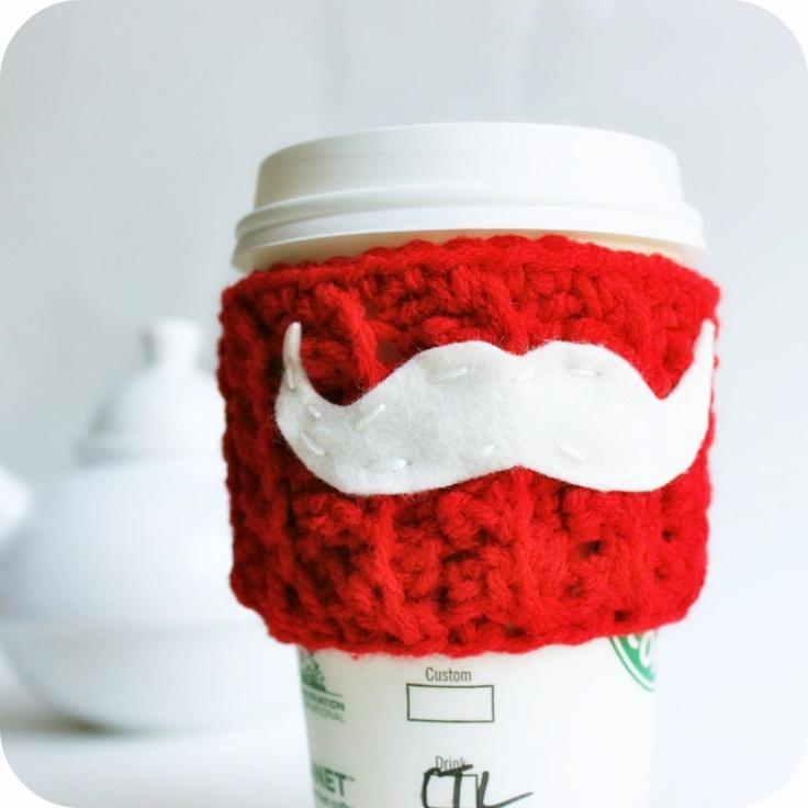 Funny travel coffee mug Santa Claus mustache red white crochet handmade