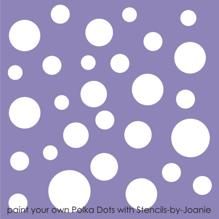Stencil polka dot wall art craft pattern template cottage for How to make polka dots on wall