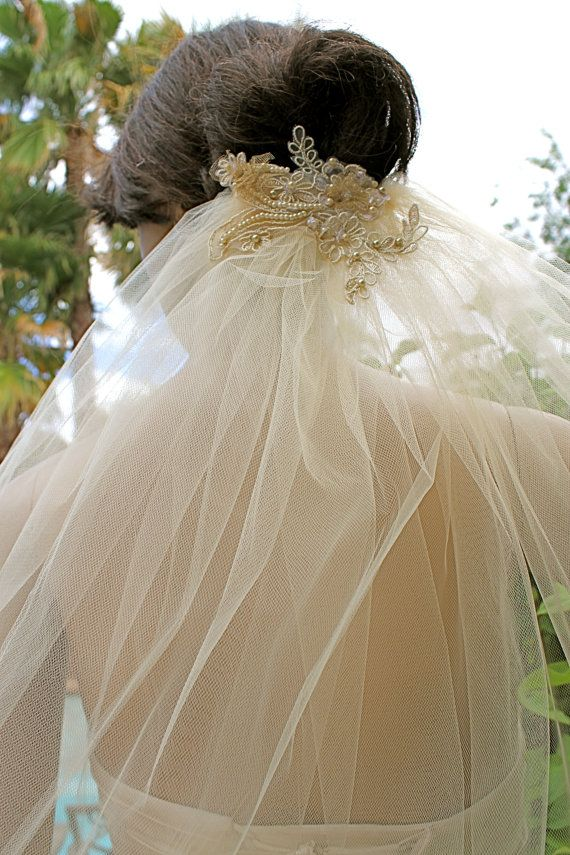 champagne tulle veil with lace leaf applique 39 bridal veil topped with