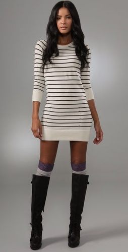 Fitted stripe jumper, leggings, knee socks and boots - goodie x