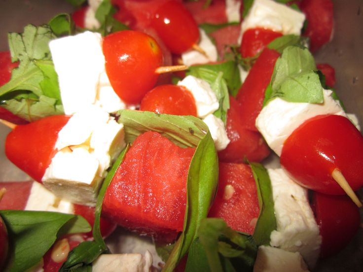 Watermelon and Feta Skewers | And the Living is Easy | Pinterest