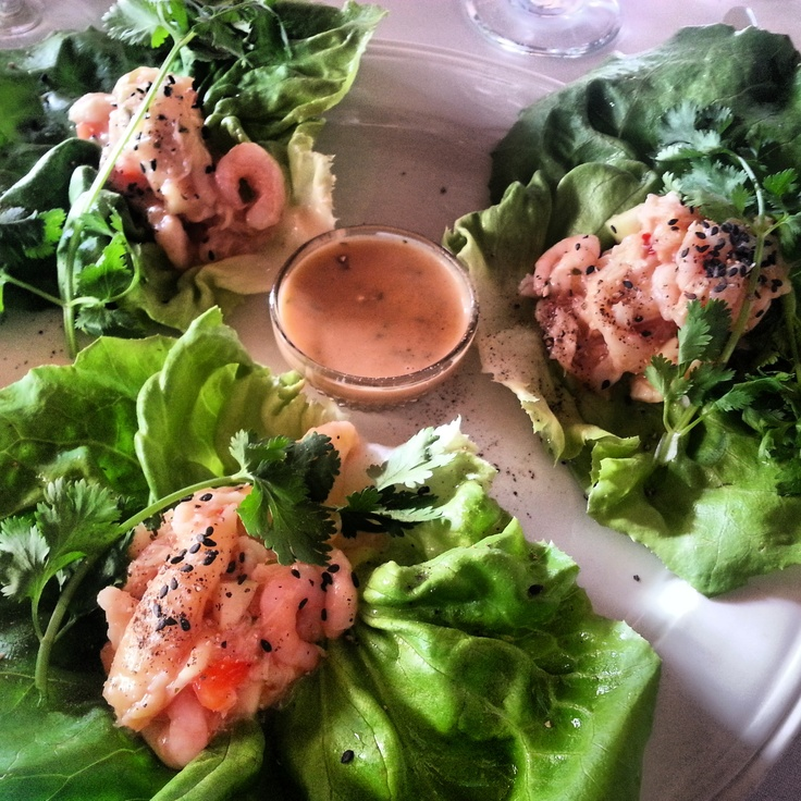 Thai Style Crab, Shrimp & Lettuce Rolls: Fresh crab & bay shrimp mixe...