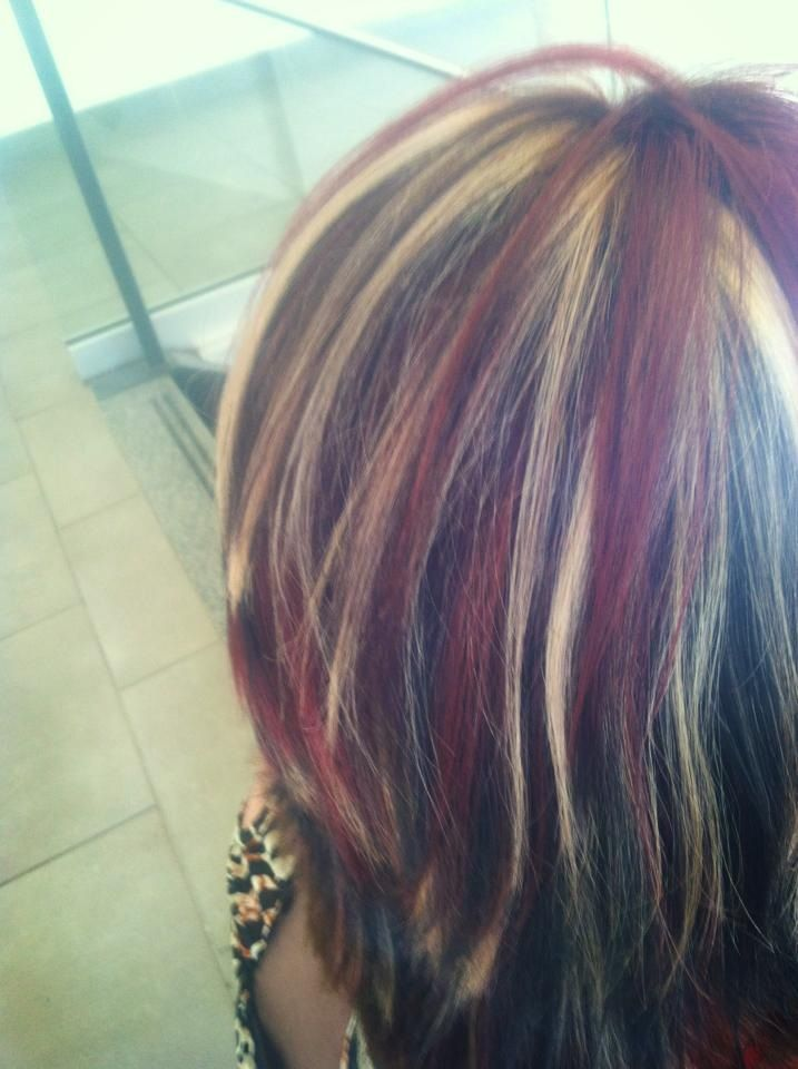 bright red, blonde, dark chocolate brown highlights and lowlights ...
