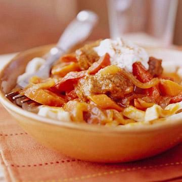 ... . Serve with hot cooked noodles, and top with sour cream or yogurt
