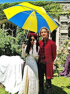 Adelaide kane mary and toby regbo prince francis on the set of