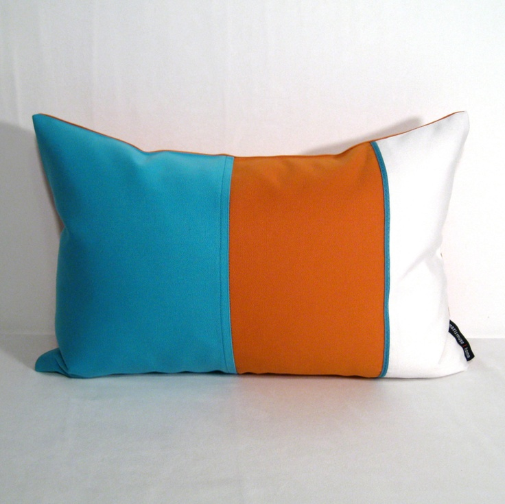 Blue Orange Pillow Cover Turquoise Outdoor Cushion