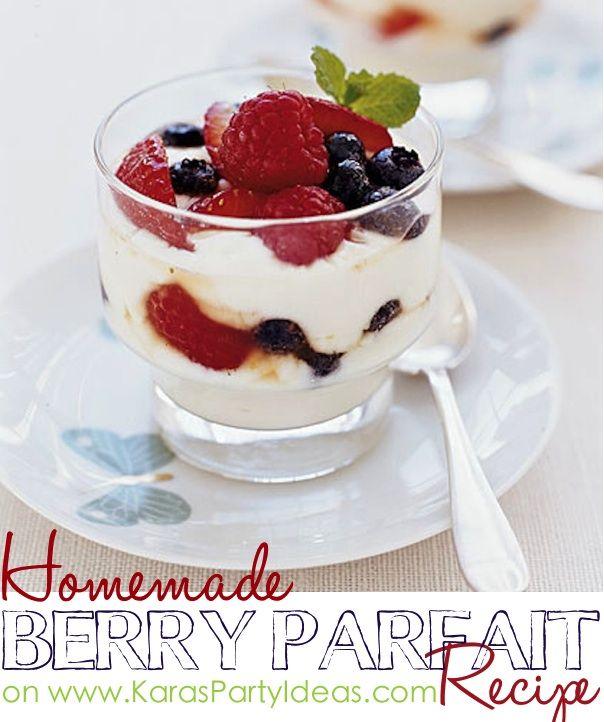 Homemade Merry Berry Parfait Recipe! Via the recipe section on KarasPartyIdeas.com! #parfaitrecipe