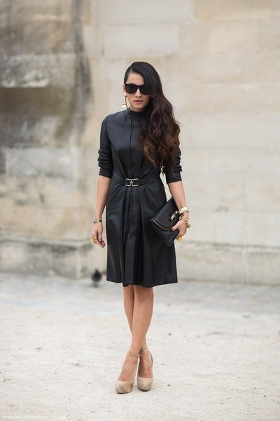 Chic black dress and nude heels street style from around the world