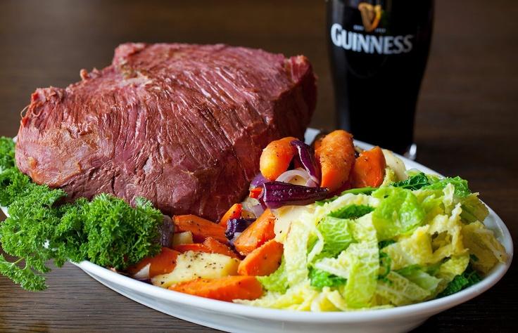Guinness marinade Corned Beef, champ potato & cabbage