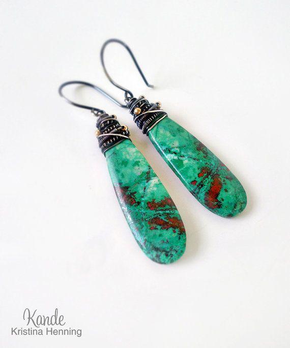 Green Drop Earrings, Sonoran Sunrise