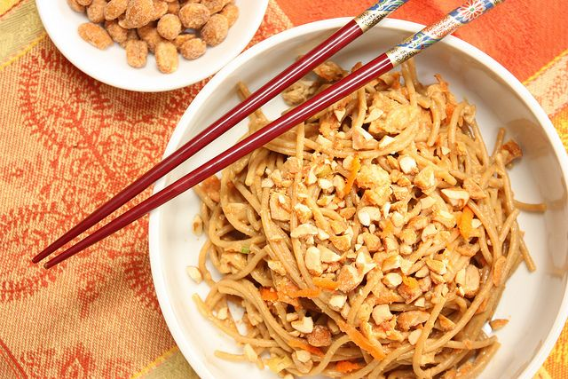 Peanut Butter noodles and peanut butter chocolate dip