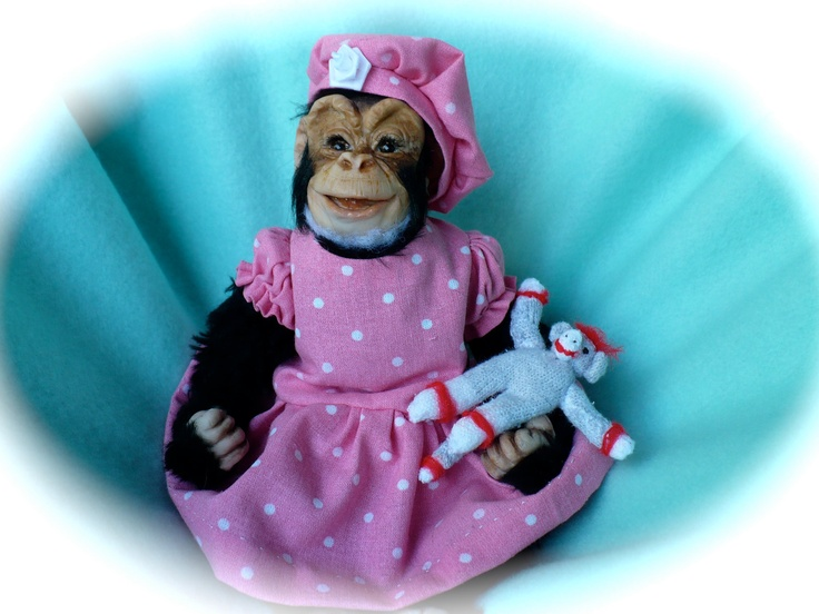 Baby, chimp, chimpanzee, monkey, ape, OOAK, polymer clay, sculpture