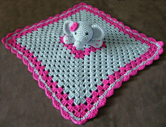 Crochet elephant lovey by ATouchofLoveCrochet on Etsy, $20.00