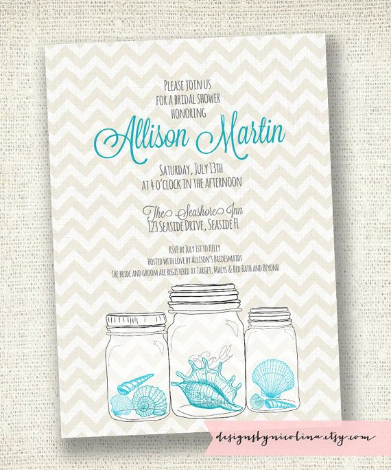 Seashell mason jar bridal shower or baby shower for Mason jar beach wedding invitations