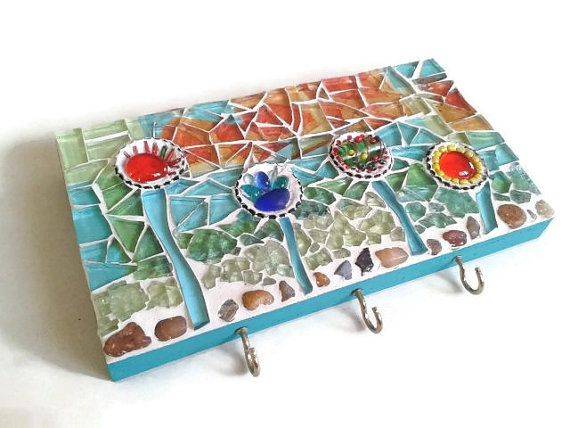 Comdesign Of A Retaining Wall : Wall Hanger Hooks Glass Mosaic Art Teal Red by MosaicMargalita, $27.00