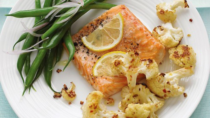 Roasted Salmon with Spicy Cauliflower | Food | Pinterest