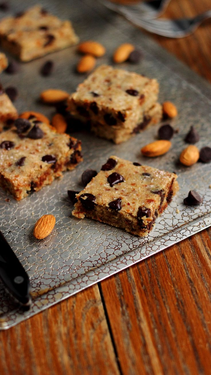 ridiculously easy chocolate chip blondies. (what to do with #almondpulp!) – Needs Salt