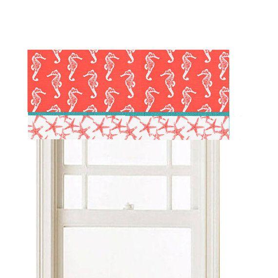 Window Valance, You Pick 2 Nautical Beach Theme Fabrics Coral, White ...