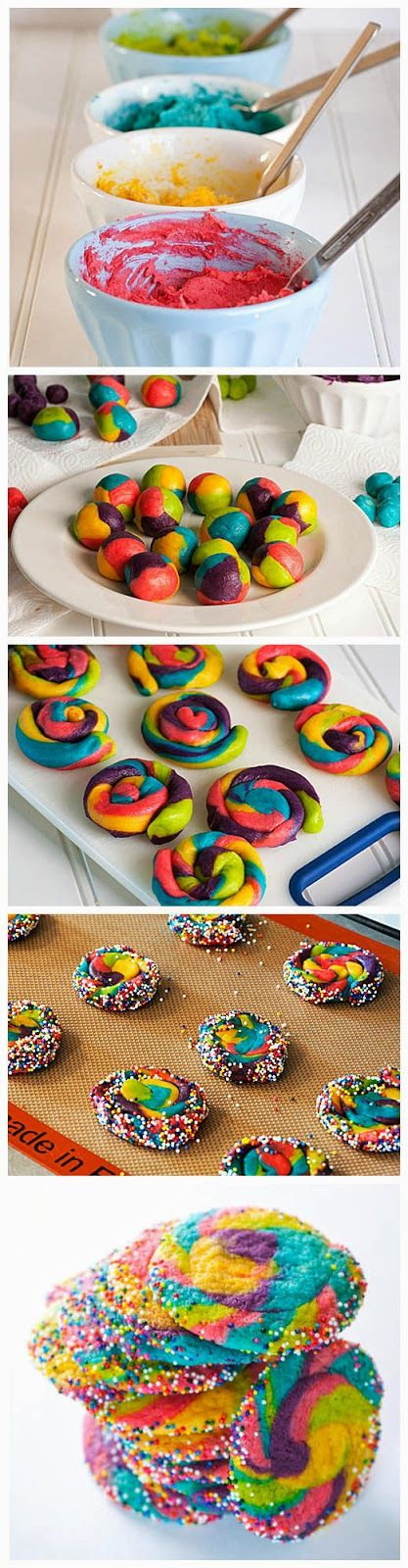 Rainbow Pinwheel Cookies...awesome for a kids party