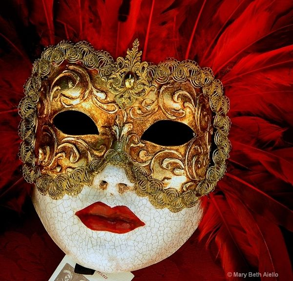 Gold and Red Volto Mask