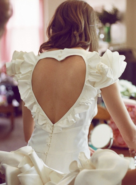 heart cut out back wedding dress