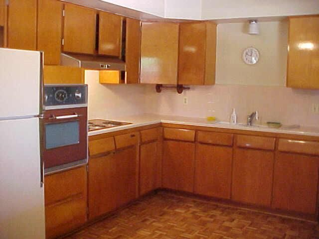 flat front wood cabinets ash mid century kitchen
