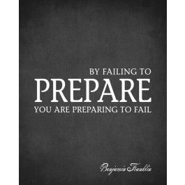 By Failing To Prepare You Are Preparing To Fail (Benjamin Franklin Quote), premium art print