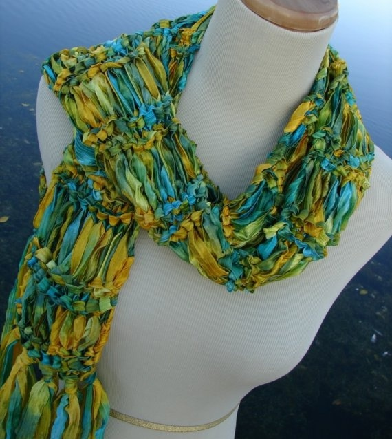 Knitting Pattern For Ribbon Scarf : Hand Knit Scarf. I love the ribbon yarn. Made with Yarn ...