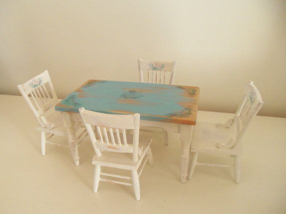 Dollhouse farmhouse/cottage table and chairs. £33.00, via Etsy.